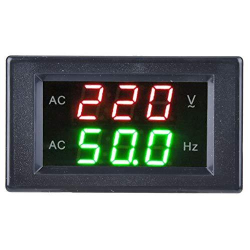 Wechselstrom-Digitalvoltmeter-Frequenzmesser, eingebettetes 80-500V LED-Generatorspannungs-Frequenzüberwachungs-Testwerkzeug, für reines Wechselstrom-Netzteil 45-60Hz(Schwarz)