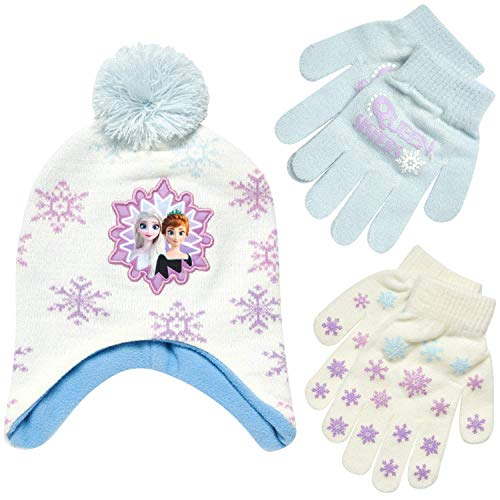 Disney Girls Frozen Winter Hat and 2 Pair Gloves or Mittens (Age 2-7) (White/Purple Gloves, Age 4-7)