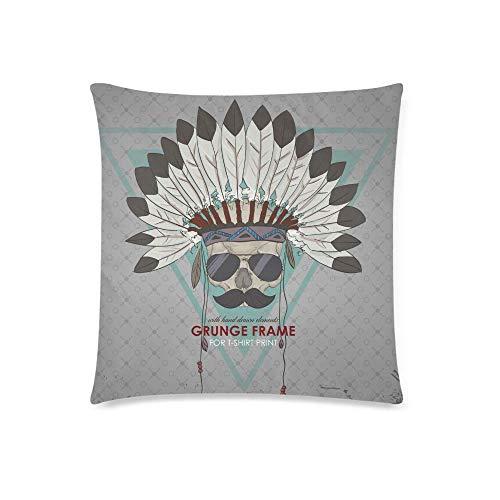 WXM Funda de cojín con diseño de calavera con plumas indias, funda de almohada decorativa con cremallera, 45,7 x 45,7 cm