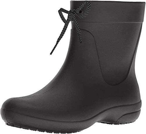 crocs Women's Freesail Shorty Rainboot, Black, 10 M US