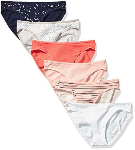 Amazon Essentials Women's 6-Pack Cotton Bikini Underwear, Stars & Dots, XL