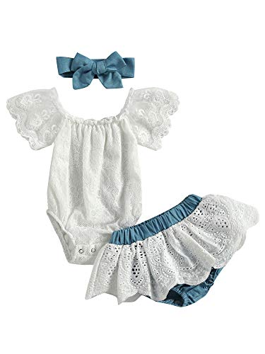 Newborn Baby Girl Short Sleeve Lace Romper + Denim Jeans Boho Clothes + Headband 3Pcs Summer Clothes Set 0-3 Months