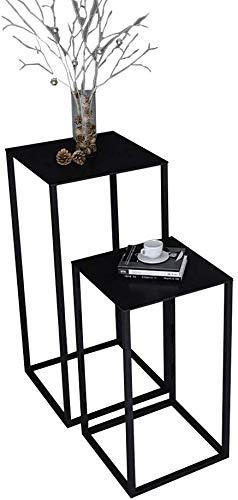 LQ Side End Table Meubles de salle Jardinière Morden Chevet Art Déco Pcs Fin côté Canapé café longue durée de vie solide Table Accueil Exigences Fer tables basses (Color : Black)