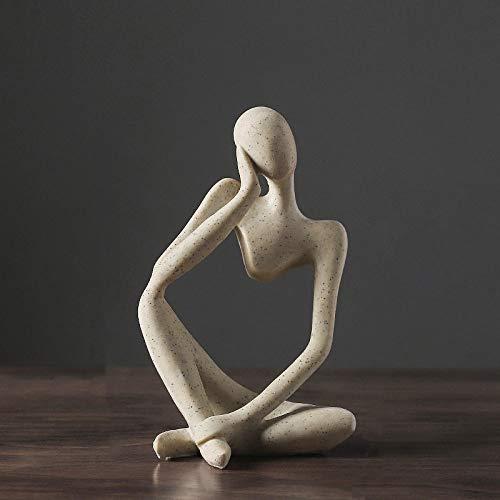 HUANSUN Estatua nórdica Estatuilla de Resina OficinaDecoración delhogarDecoración de Escritorio Artesanía Hecha a Mano Escultura Arte Moderno, A