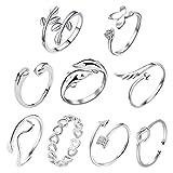 AMAZING1 - Juego de 9 anillos abiertos de plata con nudo ajustable, anillo para dedo del pie, joyería para la playa para mujeres y niñas
