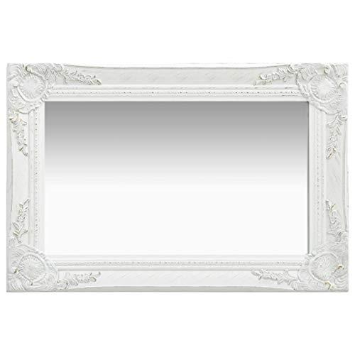 vidaXL Wandspiegel im Barock-Stil Antik mit Montagehaken Dekospiegel Hängespiegel Badspiegel Spiegel Flurspiegel Garderobe 60x40cm Weiß