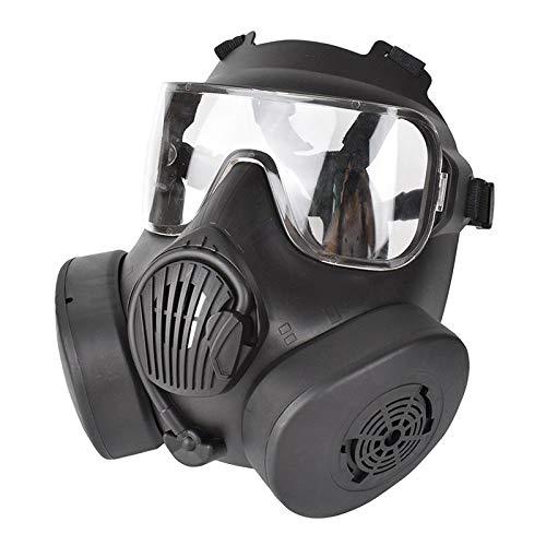 SunniMix Taktische Schutz Maske, sicherheits Full Gesicht Auge Schutz Dummy Toxischen Gas Maske mit Verstellbaren Riemen für BB Gun CS Cosplay Kostüm - Black_Clear Objektiv