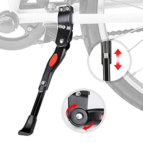 mopalwin Fahrradständer, Seitenständer Faltbarer Einstellbarer Universal Ständer mit Anti-Rutsch Gummifuß Aluminiunlegierung für Mountainbike, Rennrad, Fahrräder(22-28 Zoll/Schwarze)