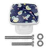 Juego de 4 pomos cuadrados para cajones para armarios y armarios de cocina, divertidos perezosos astronauta