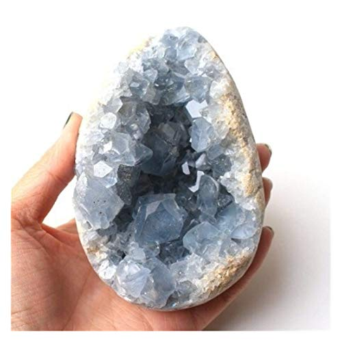 ZHQHYQHHX 1 pieza de 30 – 200 g de Madagascar cristal celestite natural druzy Cluster azul cielo geoda mineral muestra de decoración del hogar (color: azul E, tamaño: 490 510 g)