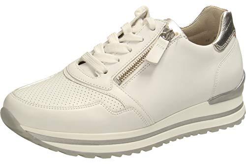 Gabor Damen Sneaker, Frauen Low-Top Sneaker,Comfort-Mehrweite,Reißverschluss,Optifit- Wechselfußbett,Weiss/Silber(perf),43 EU / 9 UK