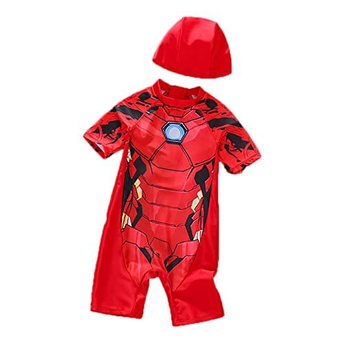 Hflyy Traje Baño para Niños Iron Man Traje Baño para Niños Traje Baño Superhéroe Traje Neopreno con Protección UV Traje De Verano Traje De Surf Traje De Baño para Vacaciones,Red-L/100~110CM