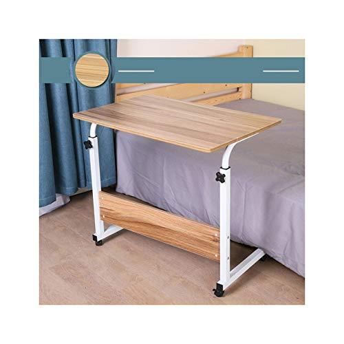 GIAO Mesa para sobrecama con ruedas, altura ajustable, portátil, portátil, con ruedas, para sentarse y colocar en el escritorio (color: plegable de arce blanco, 60 x 40 cm)