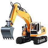 PBTRM 1:16 RC Excavadora Orugas Control Remoto 17 Canales, Cabina Giratoria Fácil Vehículo Eléctrico Obras Juego Construcción Tractor