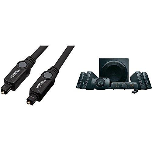 Logitech Z906 - Altavoces estéreo, sonido envolvente Dolby 5.1 3D, THX, 1.000 W, adecuados para TV y sala de estar & AmazonBasics - Cable óptico de audio digital Toslink (3 m)