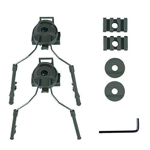 XYLUCKY 1 Paar Tactical Helm Headset Unterstützung ARC Rail Adapter Suspension Kopfhörer Halterung Jagd Ohrenschützer Links & Rechts Aufsätze,Green