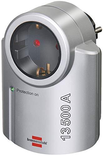 Brennenstuhl Primera-Line, Steckdosenadapter mit Überspannungsschutz (Adapter als Blitzschutz für Elektrogeräte) silber/schwarz