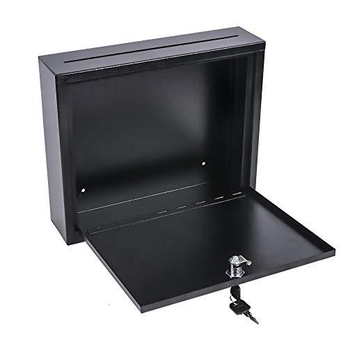 Kyodoled Suggestion Box with Lock Wall Mounted,Mail Box, Key Drop Box Cards, Safe Lock Box,Ballot Box,Donation Box,3W x 10H x 12L Inch Black Photo #4