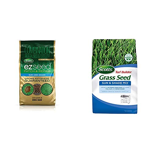 Scotts EZ Seed Patch and Repair Sun and Shade, 10 lb. - Combination Mulch, Seed and Fertilizer, Tackifier Reduces Seed Wash-Away - 225 sq. ft. & Turf Builder Grass Seed Sun and Shade Mix - 3 lbs
