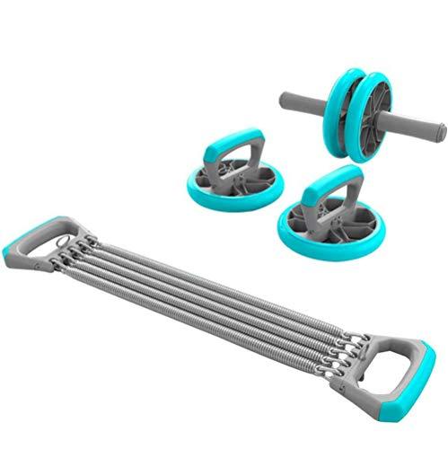 SXX DREI-In-One Fitness-Set, AB Rad-Rolle/Bauchmuskeln Rad + Push-Up Frame + Chest Expander, für Bauchtraining Fitness,Blau