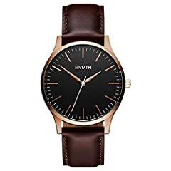 The MVMT 40 series is an everyday watch for the modern gentleman; featuring a smaller 40MM diameter case with a case depth of 7MM for a slimmer, sleeker fit The durable case is made of brushed rose gold stainless steel; the black dial is complemented...