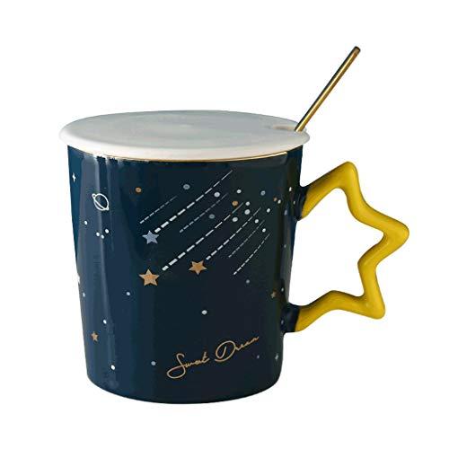 ZANZAN Starry Sky Pattern Taza de café Taza, Taza de café de cerámica Grande con asa, Gran Regalo para Parejas, Amigos Familiares-4 Colores (Color : Dark Blue, tamaño : B)