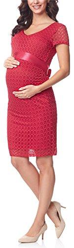 Be Mammy Damen Umstandskleid festlich aus Spitze Kurze Ärmel Maternity Schwangerschaftskleid BE20-162 (Himbeere Rosa2, L)