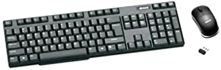 Inland 70119 Wireless Keyboard with Bluetooth Optical 3-Button Mouse 100 DPI Combo (Black)