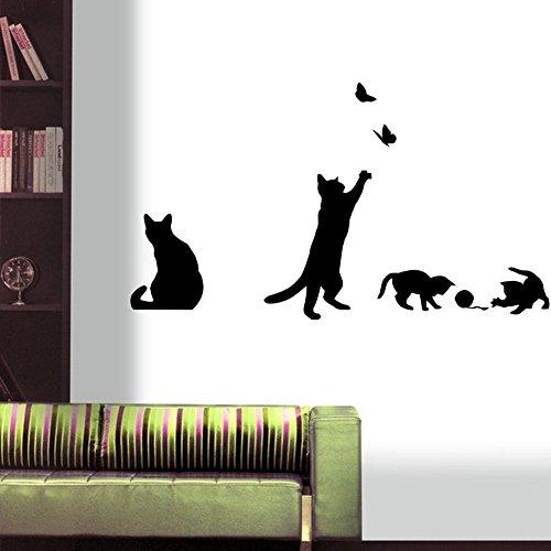 Stonges Katzen Schmetterling Wandaufkleber Wandkunst Aufkleber DIY Vinyl Home Stairway Zimmer Decor¡