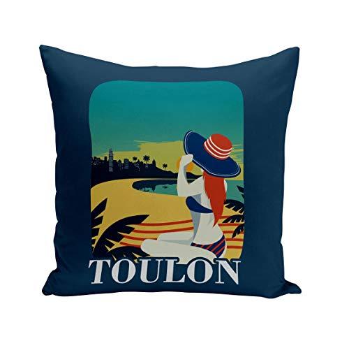 Fabulous Coussin 40x40 cm Toulon Plage Soleil Ville France Eté