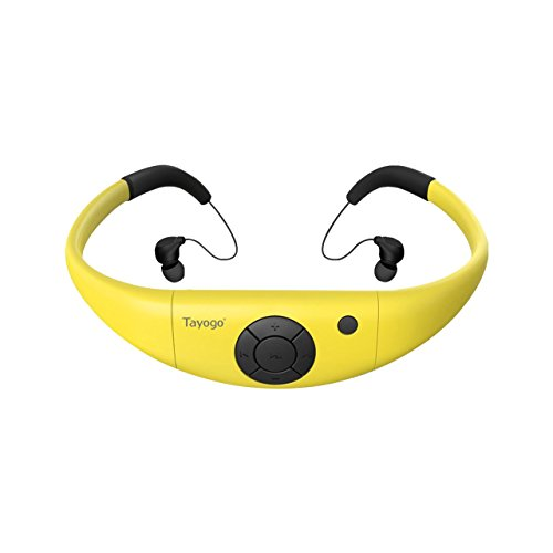 Tayogo 8GB Waterproof MP3 Player, Bluetooth Swimming Waterproof Headset Underwater 10FT with Shuffle Feature, Support FM APP Flash Drive - Yellow