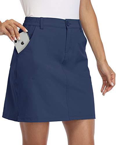 Willit Damen Outdoor Skort Golf Skort Casual Skort Rock UPF 50+ Quick Dry Reißverschlusstaschen Active Hiking Navy Blue L