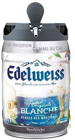 Les5CAVES - EDELWEISS Fût de bière blanche Originale aromatisée aux herbes des montagnes - Compatible Beertender - 5 L