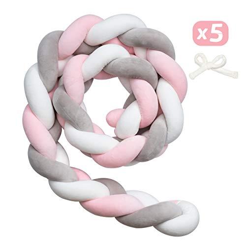 Myllna Tour De Lit Tresse OEKO TEX ® - Douce Tour de lit bebe 2M avec Cordon d'attache idéal pour la Sécurité de votre Bébé - Collection Rosa