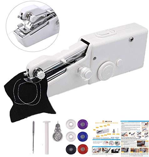 Mini máquina de coser de mano con 6 bobinas MSDADA, máquina de coser eléctrica portátil sin cable con bobina extra, aguja para cortinas, tela, tela para niños, manualidades y viajes en casa