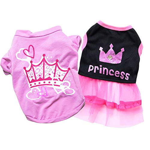 Ollypet 2 Stück Hundebekleidung für kleine Hunde Mädchen Welpen Katze Rosa Haustier süß Schwarz Sommer Kleidung Chihuahua Yorkie Outfit, S, Rose