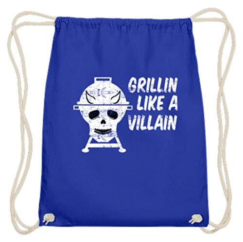 Grillin Like A Villain - doodskop met hoorns - barbecue grill - katoen gymsac