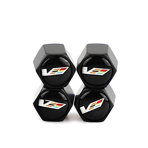 4Pcs Car Tire Metal Valve Stem Air Caps Covers Zinc Alloy Chrome for Cadillac V Logo Emblem with Rubber Ring for Cadillac XT4 XT5 CT6 SRX XTS ATS CTS CTS EXT Coupe Hybrid Escalade(Black)