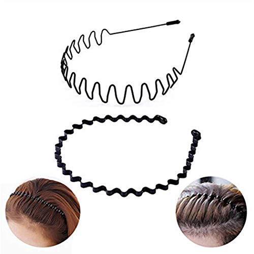 Nicute - Cerchietto per capelli in metallo, unisex, colore: nero, ondulato, con molla, antiscivolo, largo in metallo, accessorio elastico per capelli per donne e uomini (2 pezzi)