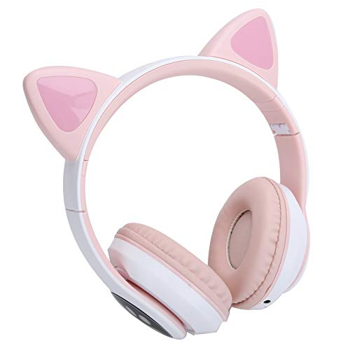 Zunate On-Ear Headphone, Bluetooth 5.0 Head-mounted Wireless Earphone Cute Luminous Cat Ear Cat Paw Bluetooth Headset,for Cellphones/Laptop/Sports/Gaming((Pink Cat Paw Pattern))