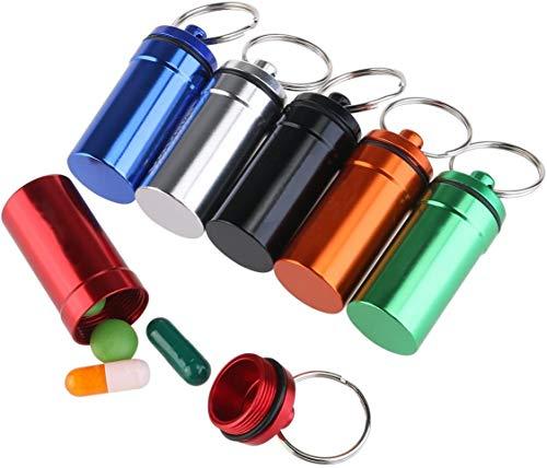 WINOMO 6st Pillenbox Pillendose Tablettenbox Pille Box Schlüsselanhänger Wasserdichte aus Aluminium