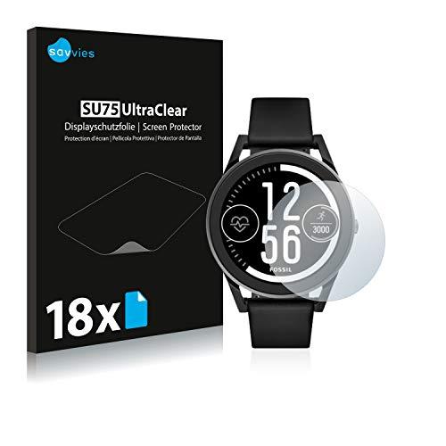Savvies 18x Schutzfolie kompatibel mit Fossil Q Control (3.Gen) Bildschirmschutz-Folie Ultra-transparent