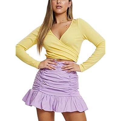 Amazon - 60% Off on Women's High Waist Ruched Ruffle Bodycon Mini Skirt Girls Cute Tight…