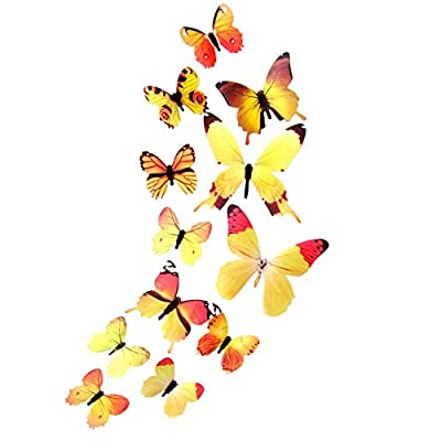 12pcs 3D Butterfly Removable Mural Stickers Decal Wall Stickers for Home and Bedroom decoration by Meet&sunshine