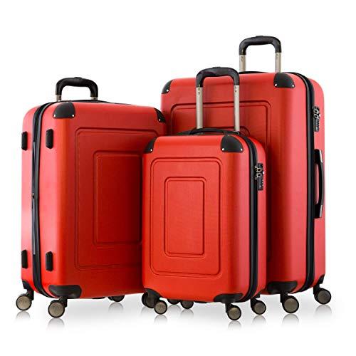 Happy Trolley - 3er Koffer-Set Trolley-Set Rollkoffer Hartschalen-Koffer Reisekoffer Lugano sehr leicht, TSA, (S, M & XL), Rot