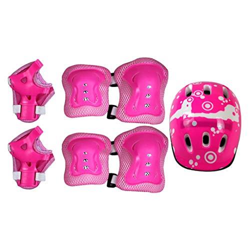 Kinder-Multisporthelm Mit Knie-Ellbogenschützern Und Handgelenken 7-Teilig Kinder-Jungen Und -Mädchen Outdoor-Sport-Schutzausrüstung Für Skateboard-Radsport-Rollschuh 6-12 Jahre Alt(Pink)