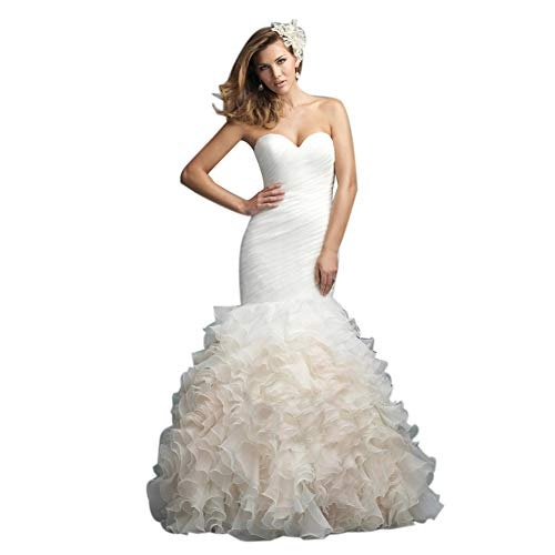 Frauen Schulterfrei Tube top Stack-up Tüll Elegantes Brautkleid Princess White Fishtail Brautkleid,White,XXL
