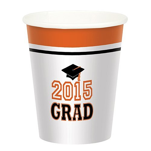 Best Review Of Orange Graduation 2015 Cups Package of 50
