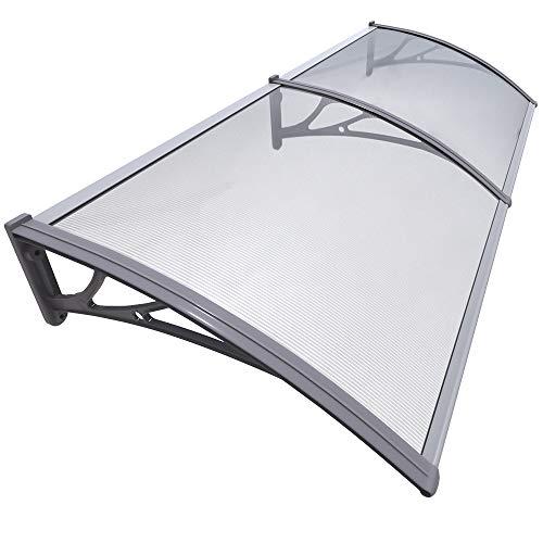 VOUNOT Vordach für Haustür 200 x 80 cm, Überdachung Haustür aus Aluminium und Polycarbonat, Transparentes Pultbogenvordach, Pultvordach, Grau