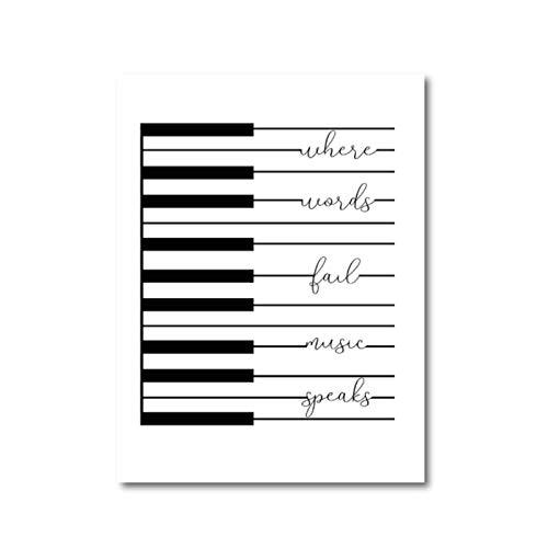 Non-branded artaslf Musik Klavier Leinwand Drucke Zitat Poster Moderne Kunst Malerei Bild Wanddekoration Musiker Geschenke- 50x70cm ungerahmt